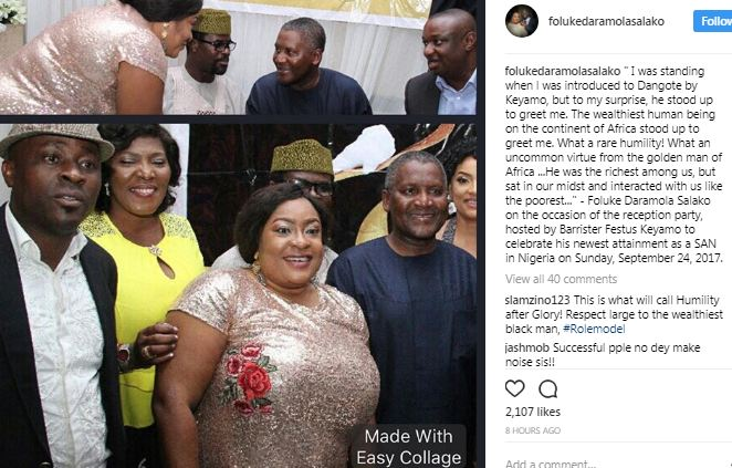 """What a rare humility"" Actress, Foluke Daramola narrates her encounter with Dangote"