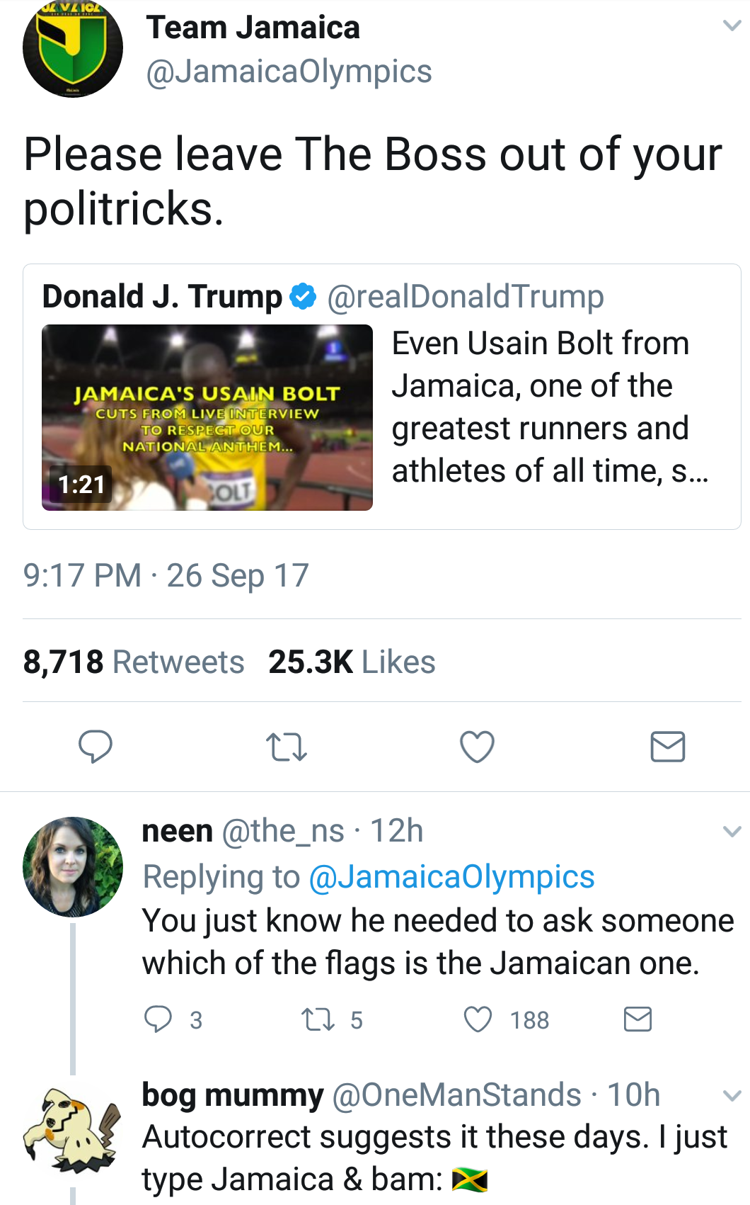 Donald Trump tries to use Usain Bolt