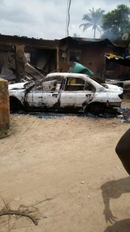 Photos: How gun-totting young men stormed Benue community; killed four, razed houses, bundled a retired Major into his car and set him ablaze
