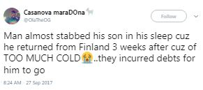 Twitter stories: Man narrates how a father almost killed his son after they borrowed money to send him to Finland and he returned 3 weeks later because of cold