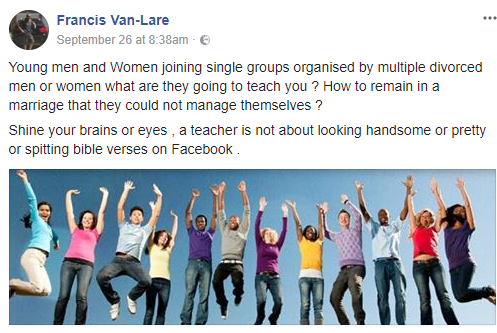 """Young people joining single groups organised by multiple divorced women, what are they going to teach you?"