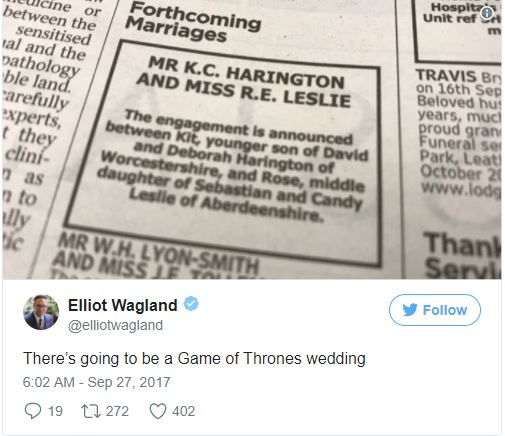 Game of Thrones stars Kit Harington and Rose Leslie finally announce their engagement?