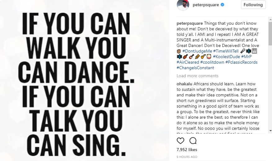 """I am a great singer and a multi-instrumentalist and a great dancer"" Peter Okoye list things people don"