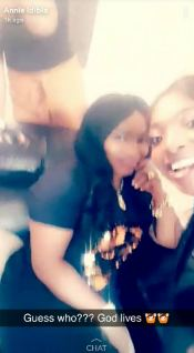 Halima Abubakar recovers, pictured on set with Annie Idibia