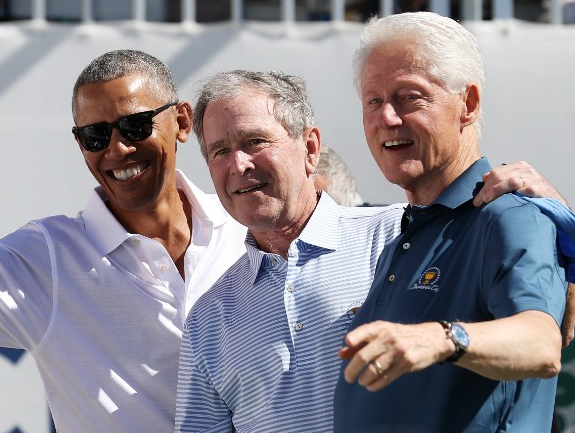 Photo: Former US Presidents,?Obama, Bush and Clinton appear together at a Golf Tournament