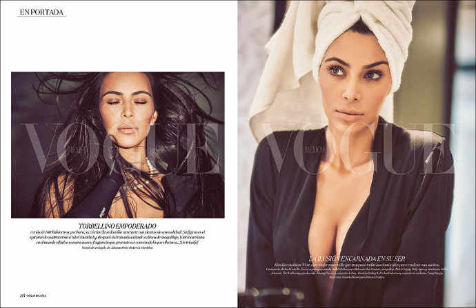 Kim Kardashian poses topless for Vogue Mexico