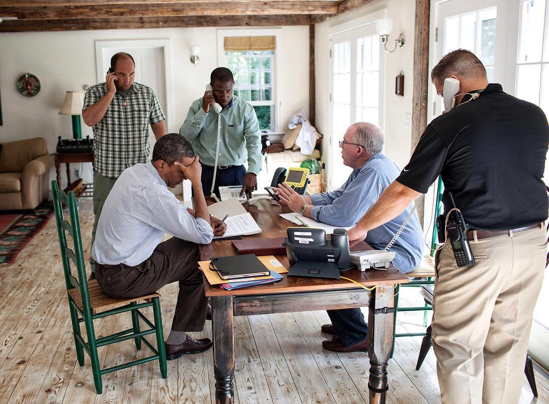 Throwback photo of Pres. Obama handling the aftermath of Hurricane Irene in 2011