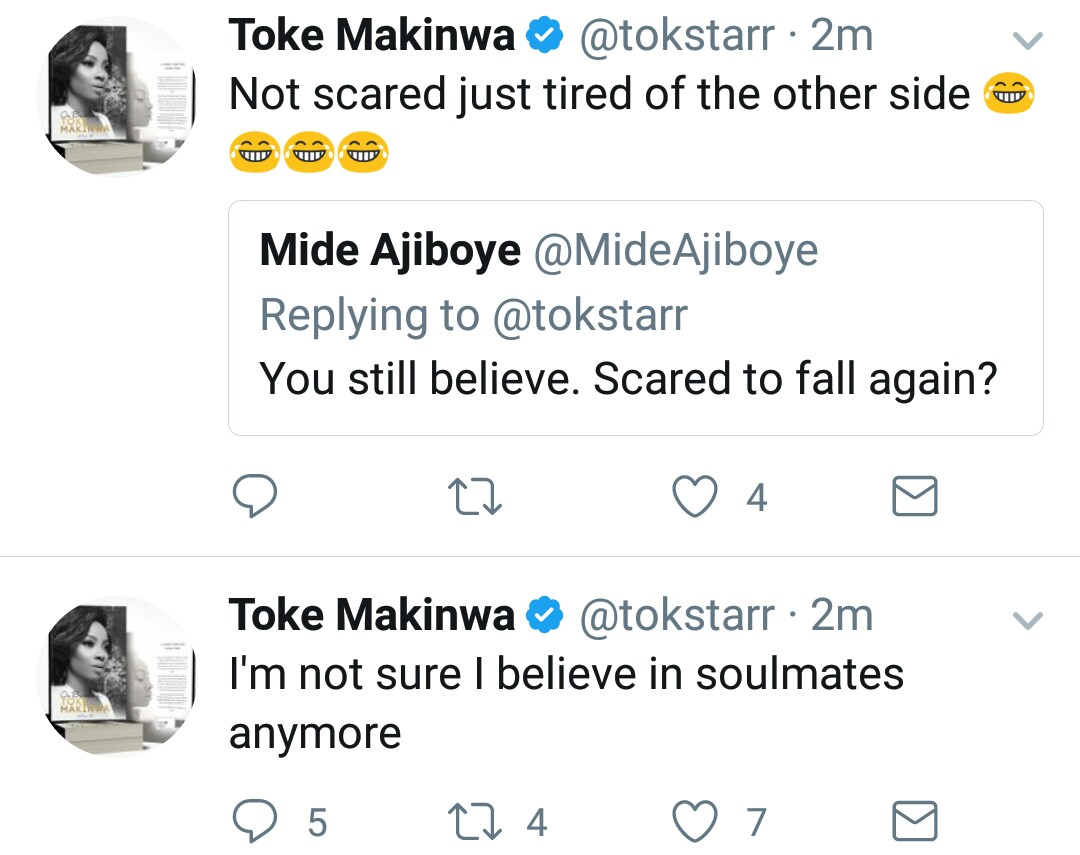 Toke Makinwa reveals that she no longer believes in soulmates, says what she
