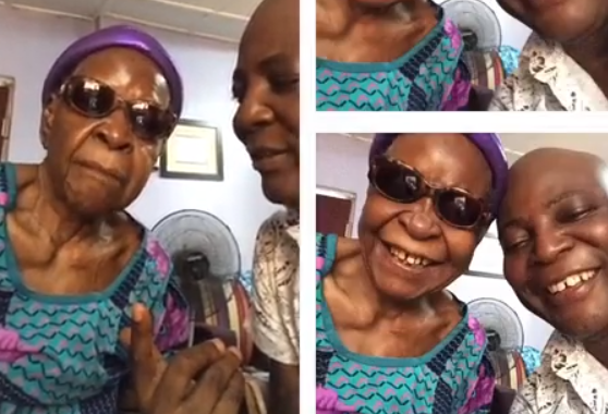 Video: Charly Boy shares a kiss with his 98-year old mum