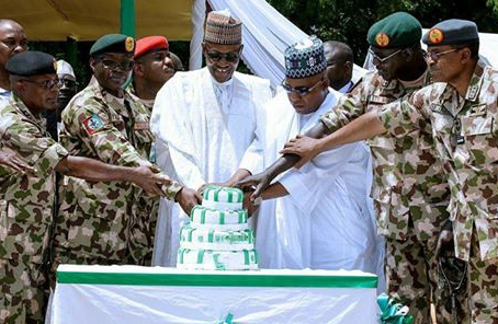 Photo: Check out the Independence celebration cake President Buhari cut with  troops in Maiduguri