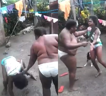 Trending Video Of A Mother Beating Her Daughter With A Machete Mercilessly.