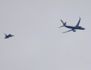Ryanair plane intercepted mid-air by two RAF fighter jets and escorted into Stansted following bomb claim
