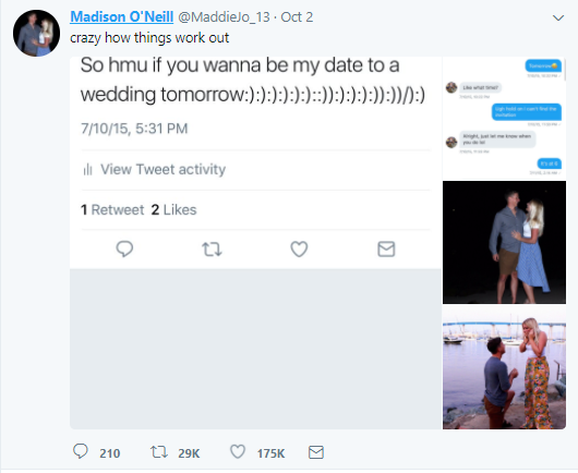 Couple met on Twitter after the lady tweeted that she needed a date for a wedding and the guy replied, now they