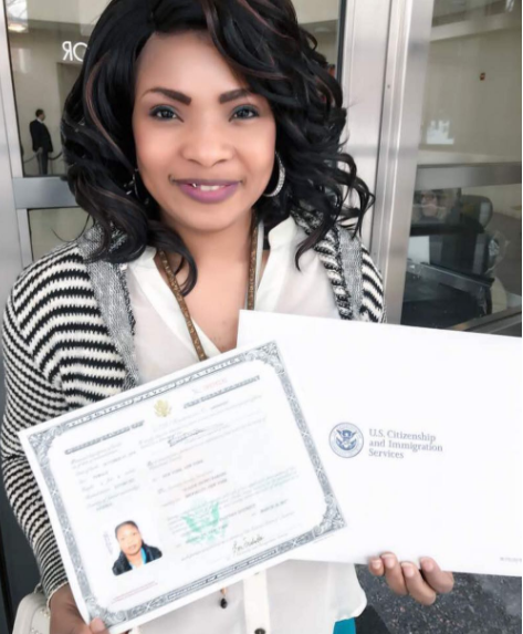 Nollywood actress, Laide Bakare shows off her US Citizenship