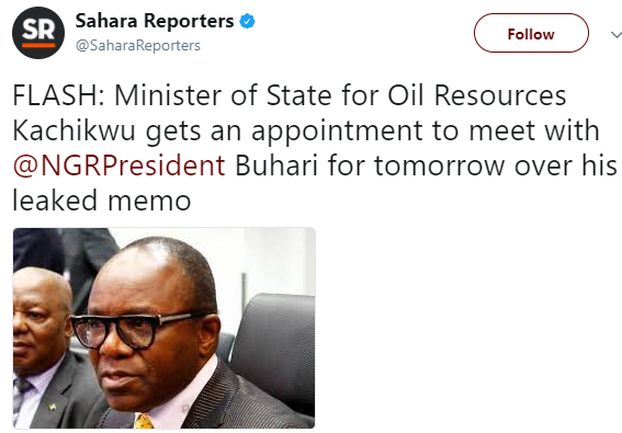 Ibe Kachikwu to meet with President Buhari tomorrow over his leaked petition against NNPC GMD, Maikanti Baru