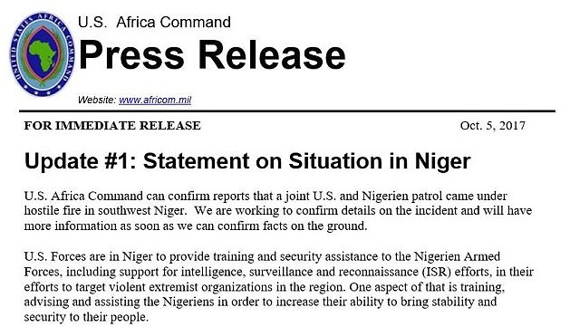 Three US Army special operations commandos killed and two others injured by suspected Al Qaeda terrorists in Niger