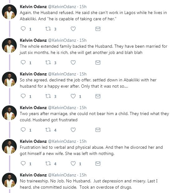 Man narrates how a lady who gave up her dreams for marriage committed suicide after the marriage failed