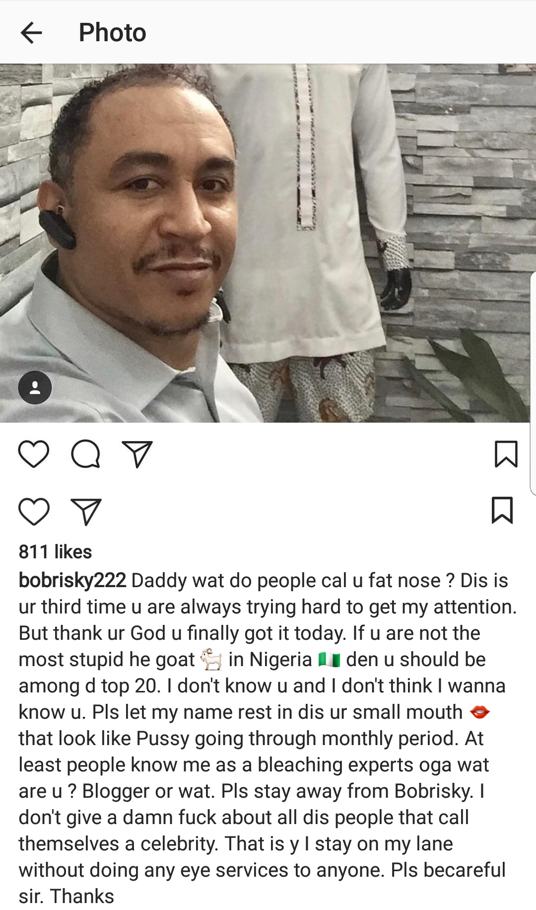 Bobrisky blasts OAP Freeze on Instagram, calls him a stupid he-goat