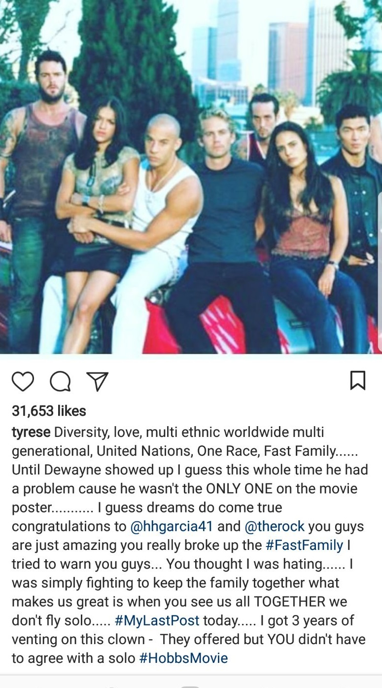 Tyrese Gibson calls out Dwayne ?The Rock? Johnson for delaying ?Fast and Furious 9?