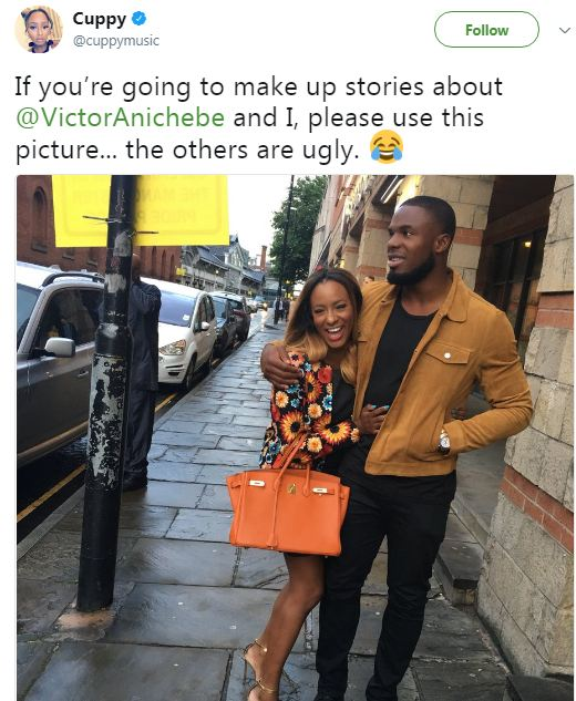 "If you?re going to make up stories about Victor and me, use this photo"" Dj Cuppy reacts to rumours about break up with footballer Victor Anichebe"