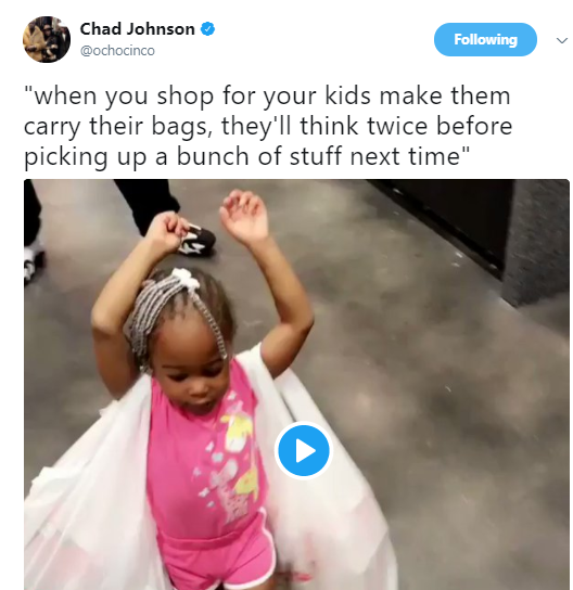 Father makes his toddler carry two heavy shopping bags in new cute video to teach her a lesson