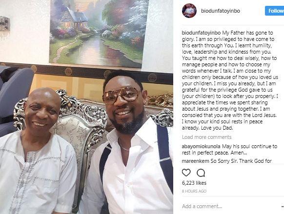 COZA pastor, Biodun Fatoyinbo loses his dad
