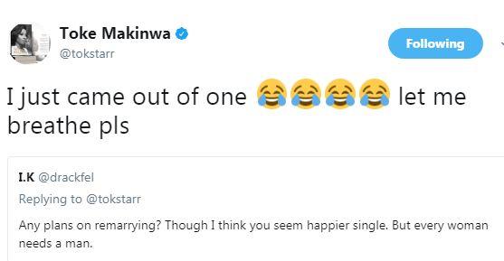 """Let me breathe please"" Toke Makinwa replies fan who asked if she plans on remarrying"