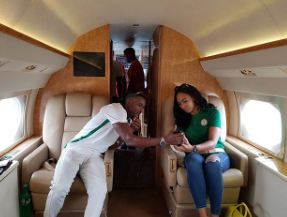 Tboss flies out in private jet with Ubi Franklin and his crew to Uyo to watch the Nigeria vs Zambia World Cup qualifiers