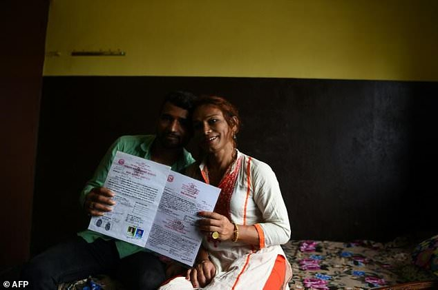 Photos: Transgender woman, 40, and her 22-year-old husband becomes the first couple to wed in Nepal