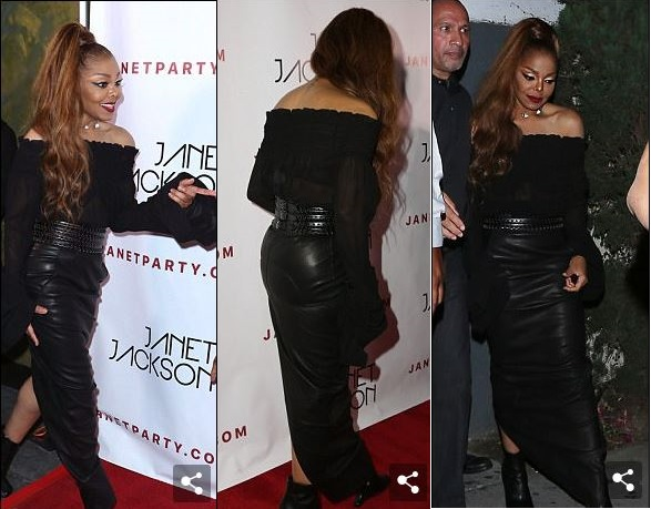 Janet Jackson displays her incredibly slim figure in a stylish all-black ensemble. (Photos)