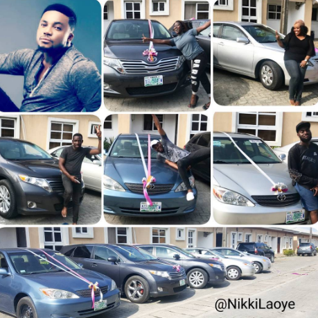 Gospel artiste Tim Godfrey surprises five of his longstanding band members with cars today (photos)