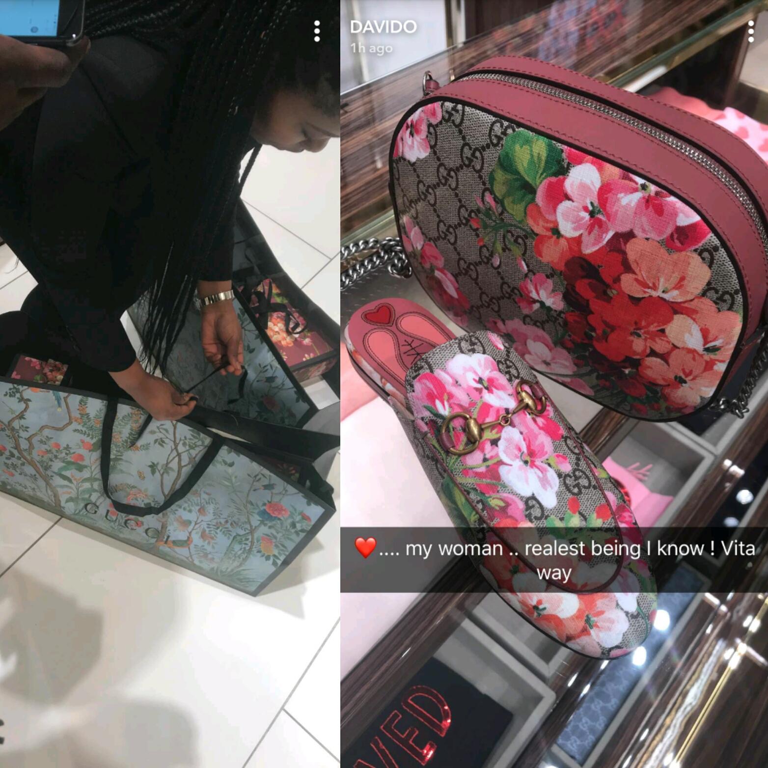 Singer Davido takes his woman shopping at a Gucci store (photos)