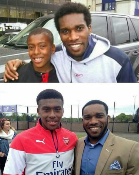 Before and after photo of J J Okocha and his nephew, Alex Iwobi