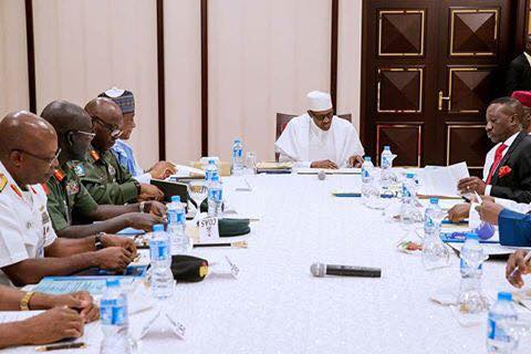 Photos: President Buhari meets with Service chiefs in the presidential villa