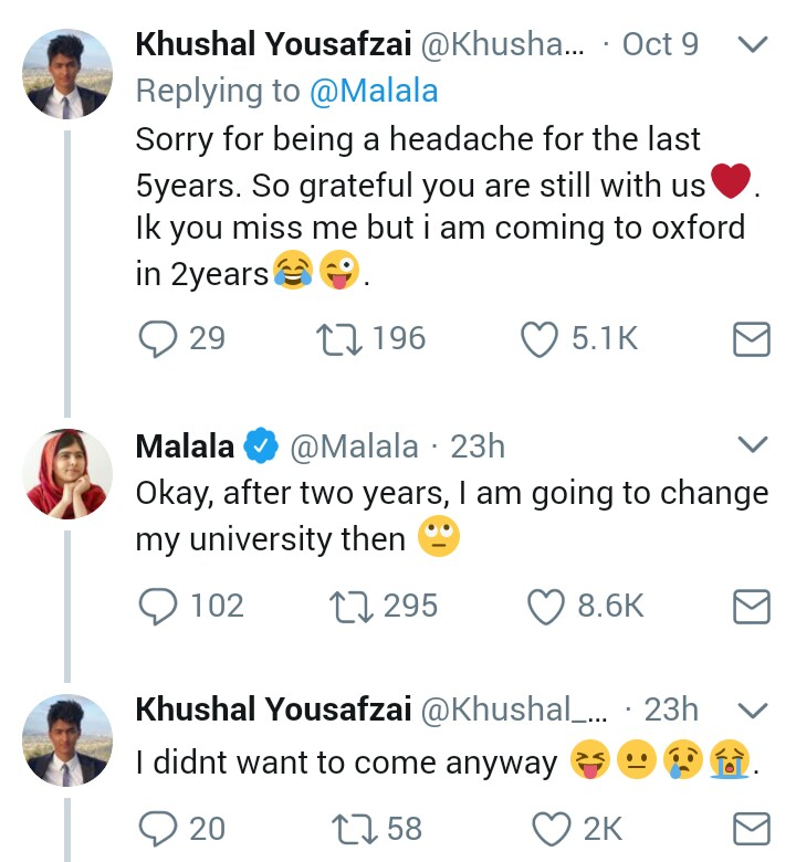 Check out this adorable Twitter exchange between Malala Yousafzai and her younger brother