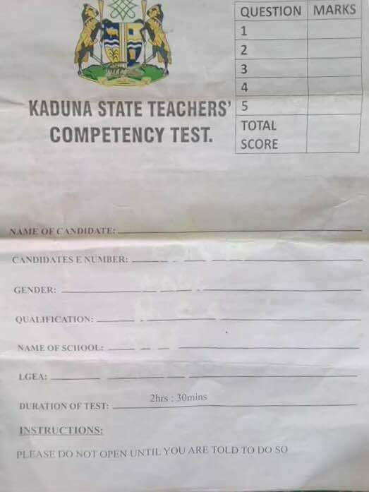 Photos: See the primary four questions 21,780 teachers failed in Kaduna state