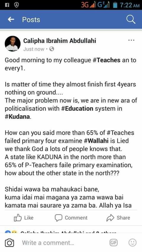 See the Facebook post of one of the teachers who failed the Kaduna state competency test