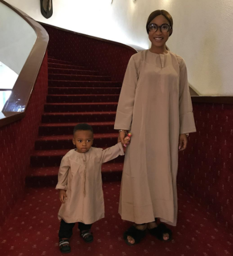 """God compensated me with heaven here on earth"" Tonto Dikeh says as she shares photo with her son in matching outfit"
