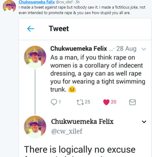 """""""If I rape you & you cum, its unfair to call the police on me cause you enjoyed it"""": Ode Nigerian man writes, then insults people who criticized him for it"""