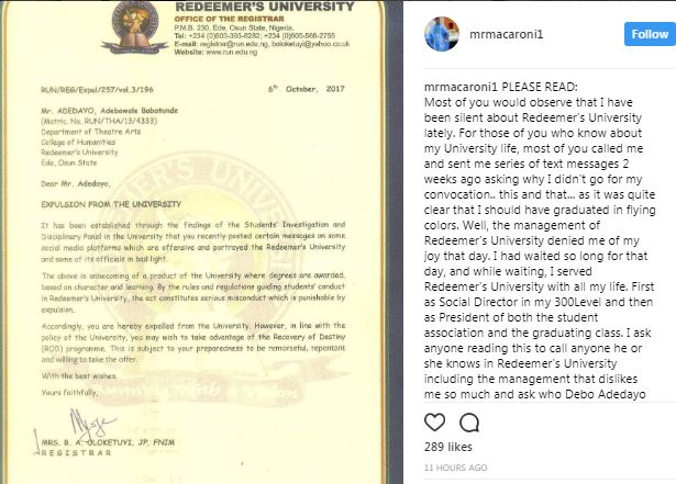 Nollywood actor, Debo Adedayo reacts after being expelled from Redeemers University over his comments on social media
