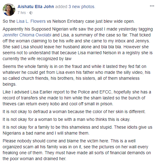 Nigerian husband whose American wife declared incommunicado is alive and has a Nigerian wife who is now warning his Caucasian wife to stay away