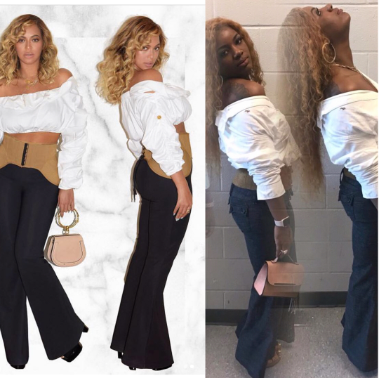 Between Beyonce and a fan, who rocked the outfit and pose better?