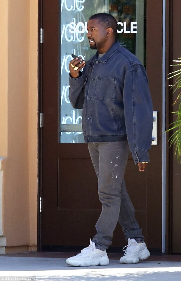 Kanye West seen leaving a SoulCycle class dressed in denim ensemble