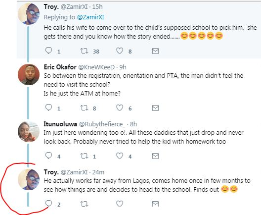 Twitter user narrates how a man found out his wife sends their son to a cheap school and pockets the rest of the tuition in Lagos