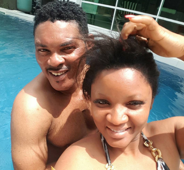 Photos: Omotola and her hubby take a deep in the pool and they look so lovely
