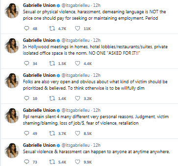 Gabrielle Union discusses being raped at work even though she dressed up decently