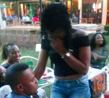 Viral photos of a man who proposed to his girlfriend at a beer parlour