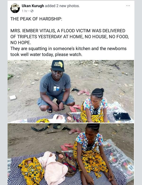 Photos: Benue flood victim squatting in someone