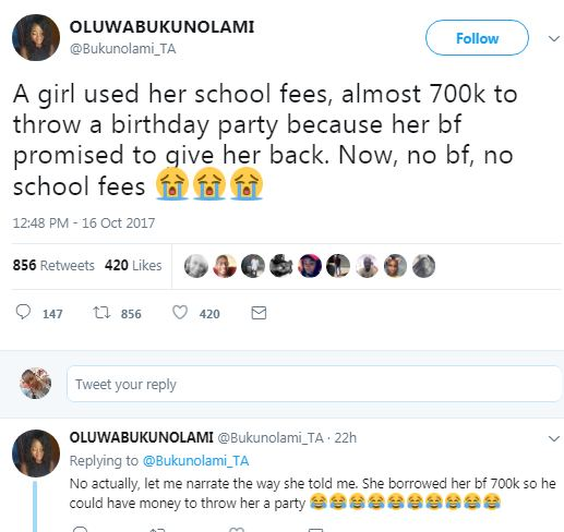 Twitter stories: Lady narrates how a girl lost her bf and 700k school fees after she borrowed it to her bf to throw a party for her on her birthday
