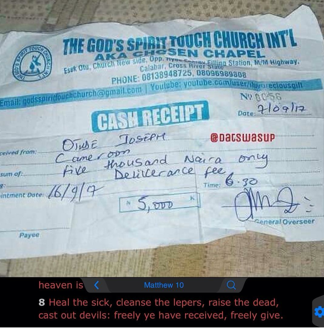 Check out this receipt for 'deliverance fee' paid to a church